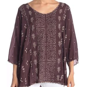 NWT Johnny Was Ridden Embroidered Tunic Blouse